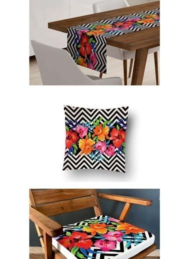 Lyn Home & Decor 3'lü Kombin Çiçekli Zigzag Renkli